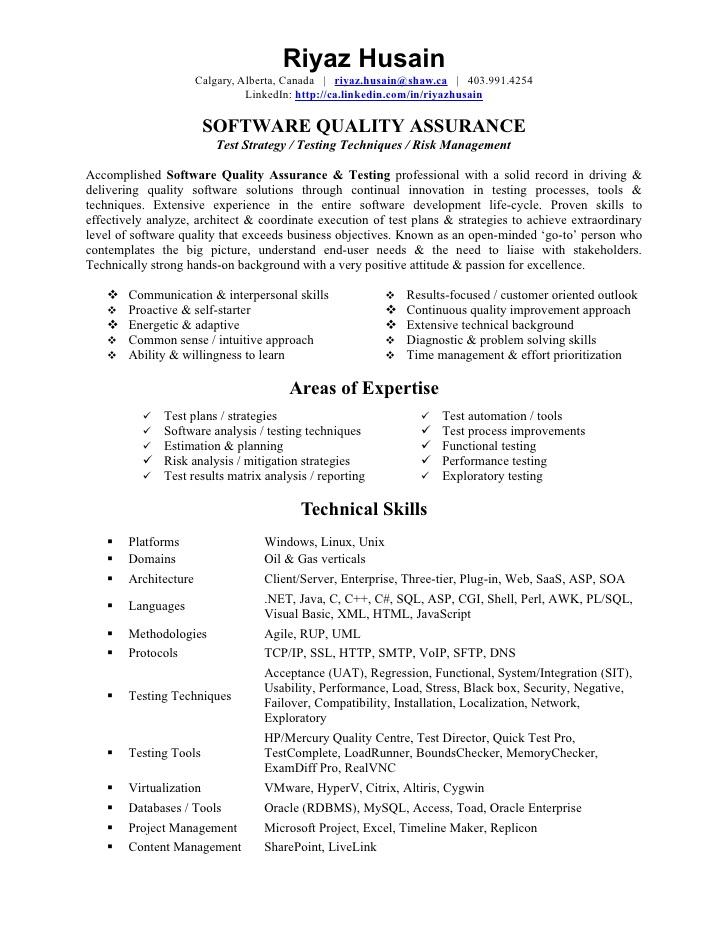 Quality Assurance Test Lead Resume