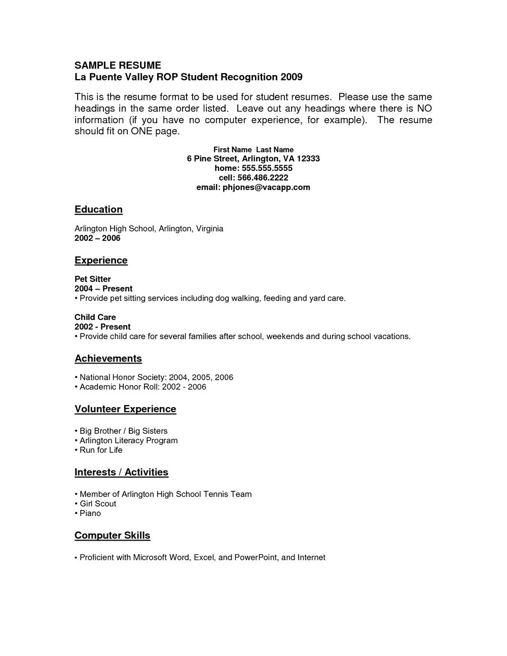 Resume Builder For High School Students Free