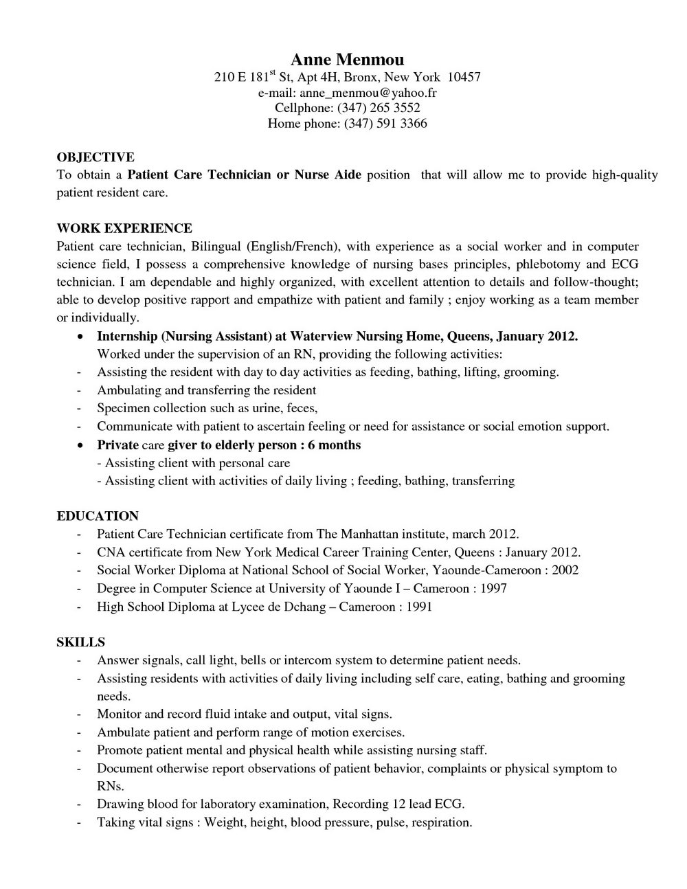 Resume Computer Technician Example