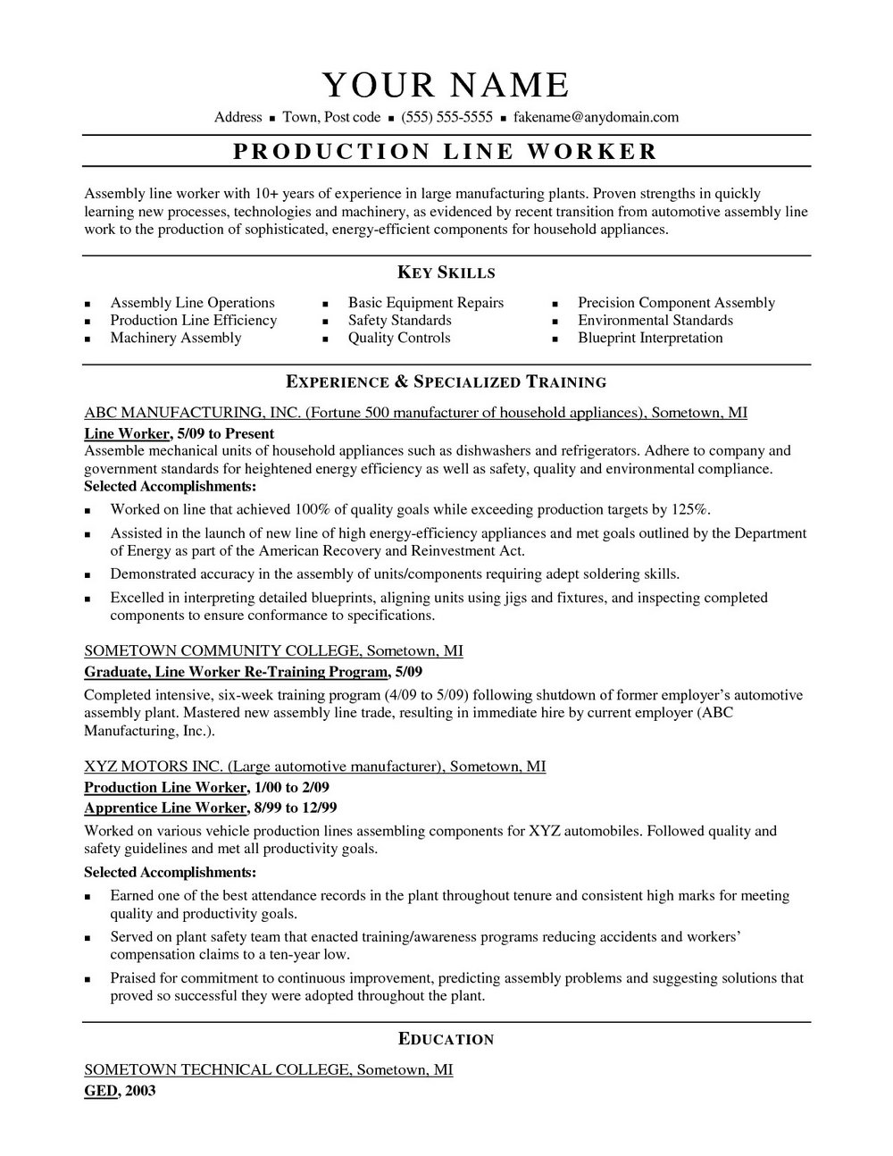 Resume Construction Worker Laborer