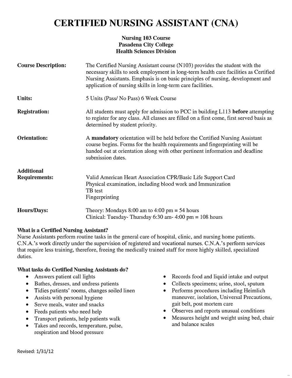 Resume Description For Nursing Assistant