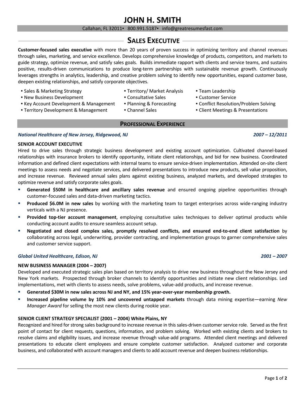 Resume Examples For Sales Executives