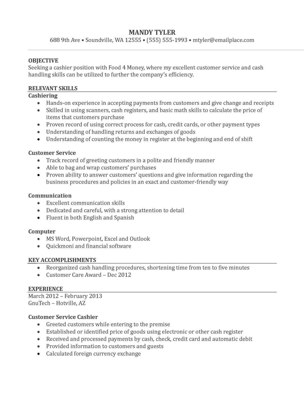 Resume Examples Pdf Free Download