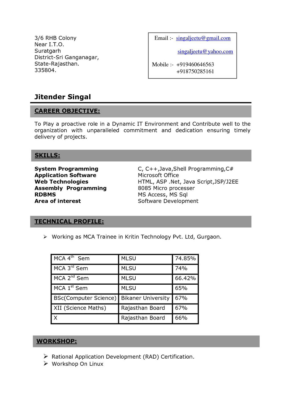 Resume For Freshers Engineers Pdf Download