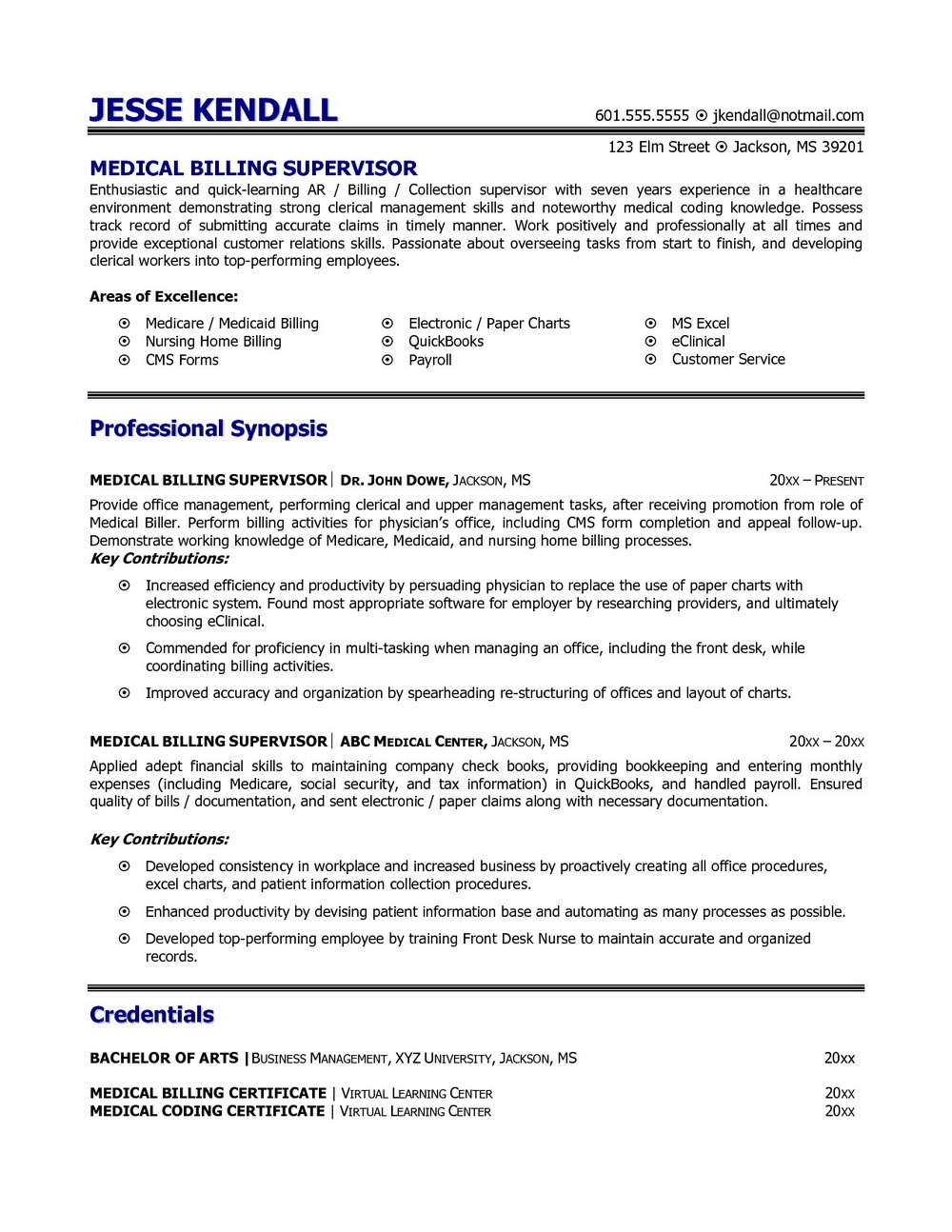 resume for medical coder and biller