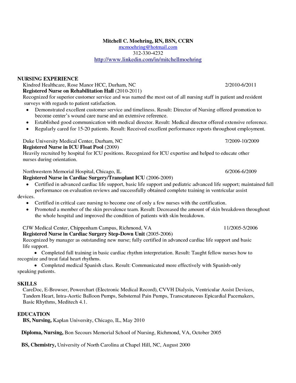 Resume For Registered Nurse In Australia