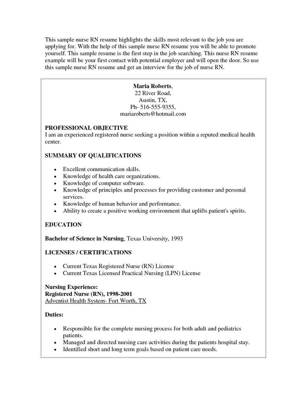 Resume For Registered Nurse Position