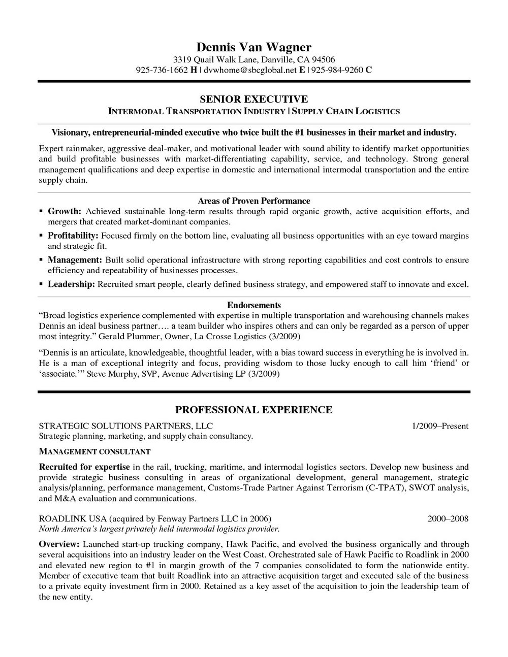 Resume For Truck Driver Owner Operator