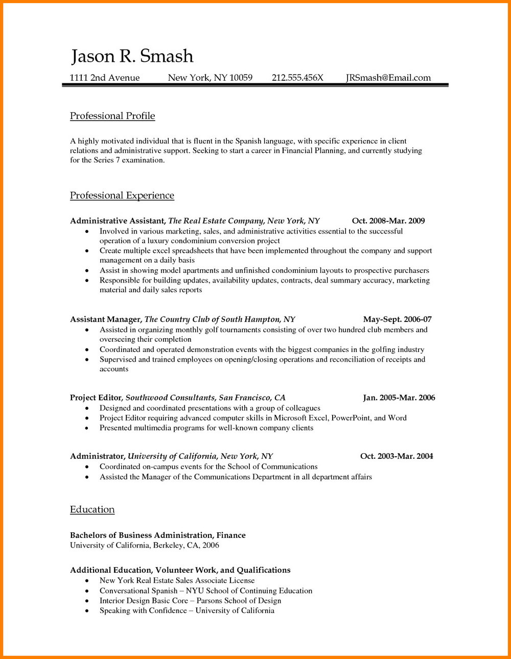 Resume Format For Bank Job In Word File Download