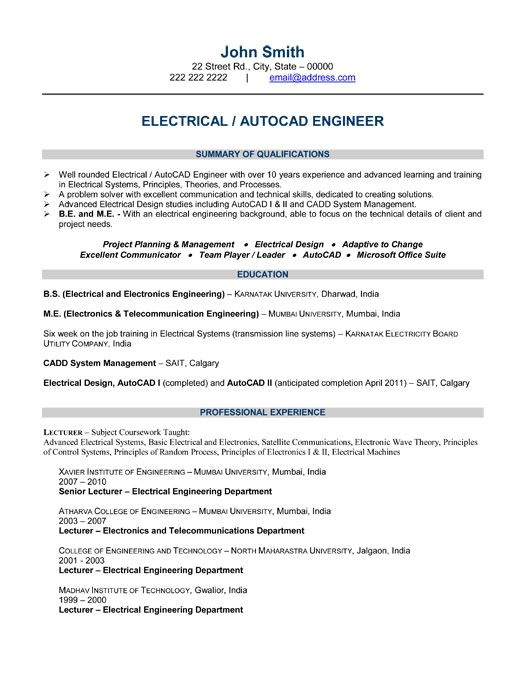 Resume Format For Electrical Engineers In Word Download Free
