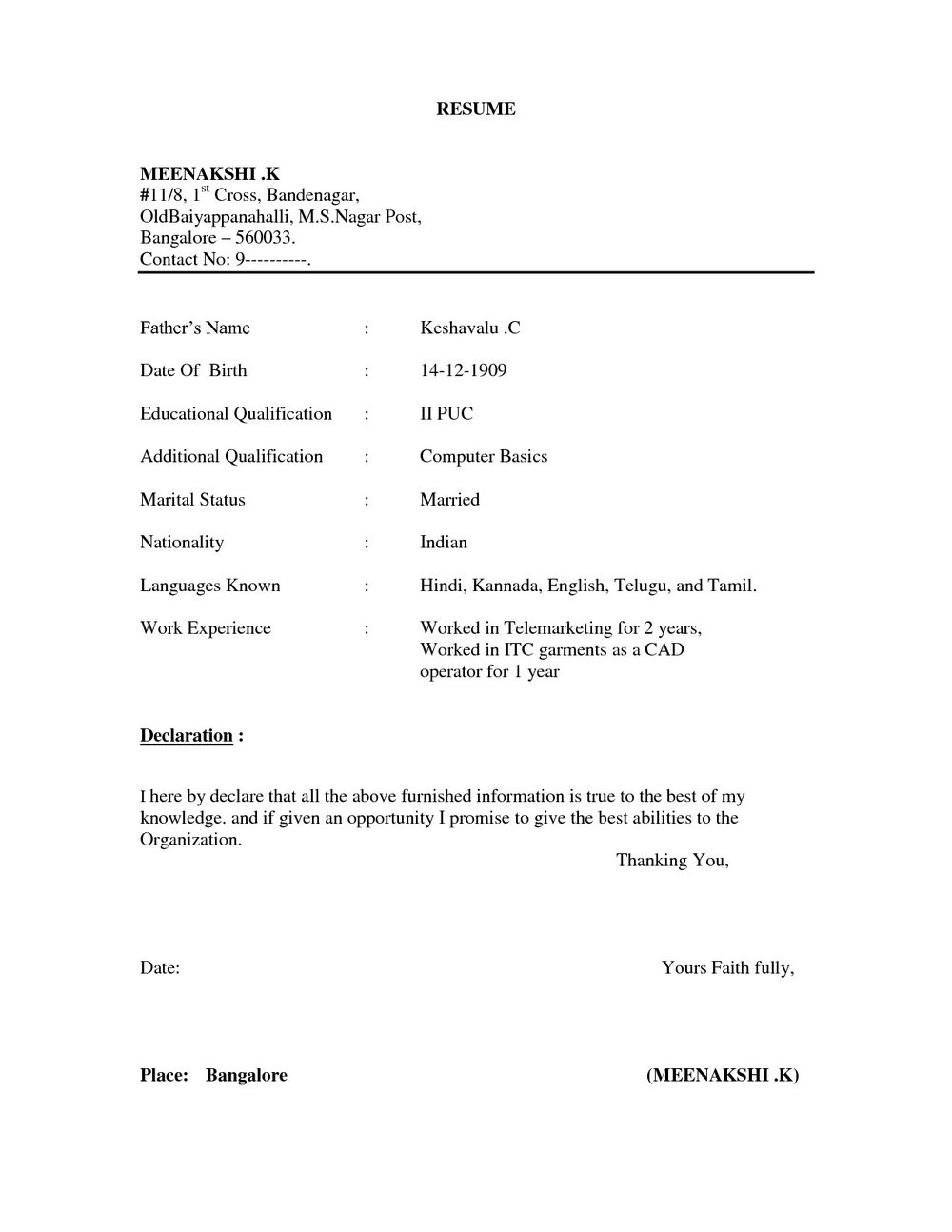 Resume Format For Freshers Word File Download