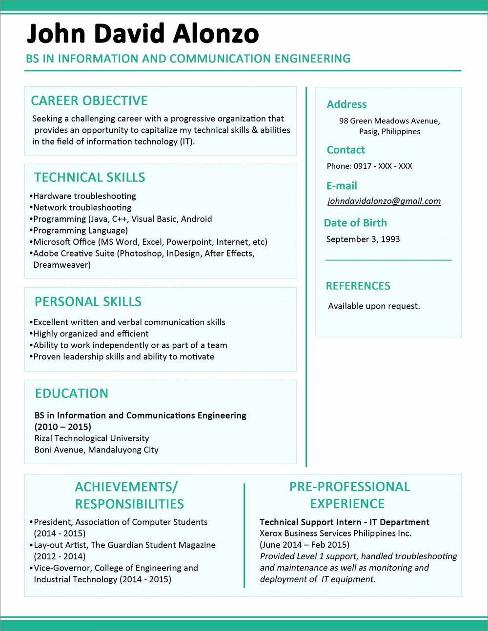 Resume Format For Mca Freshers Word Free Download