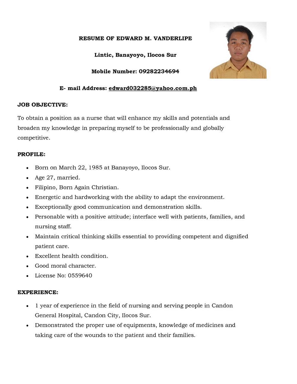 Resume Format For Nurses In Kerala
