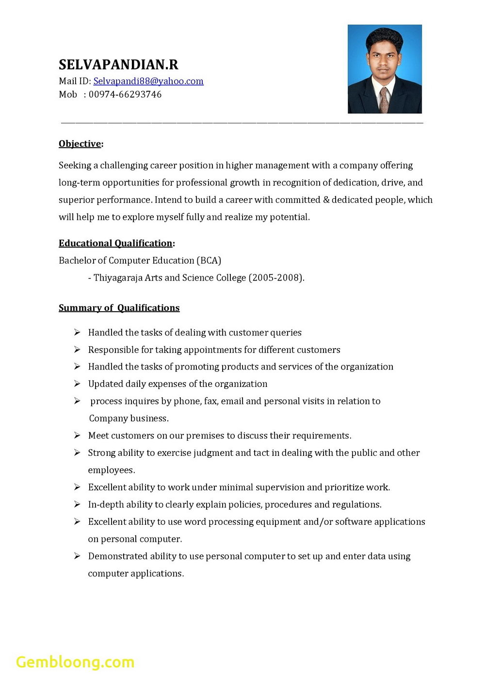 Resume Format Word Doc Free Download