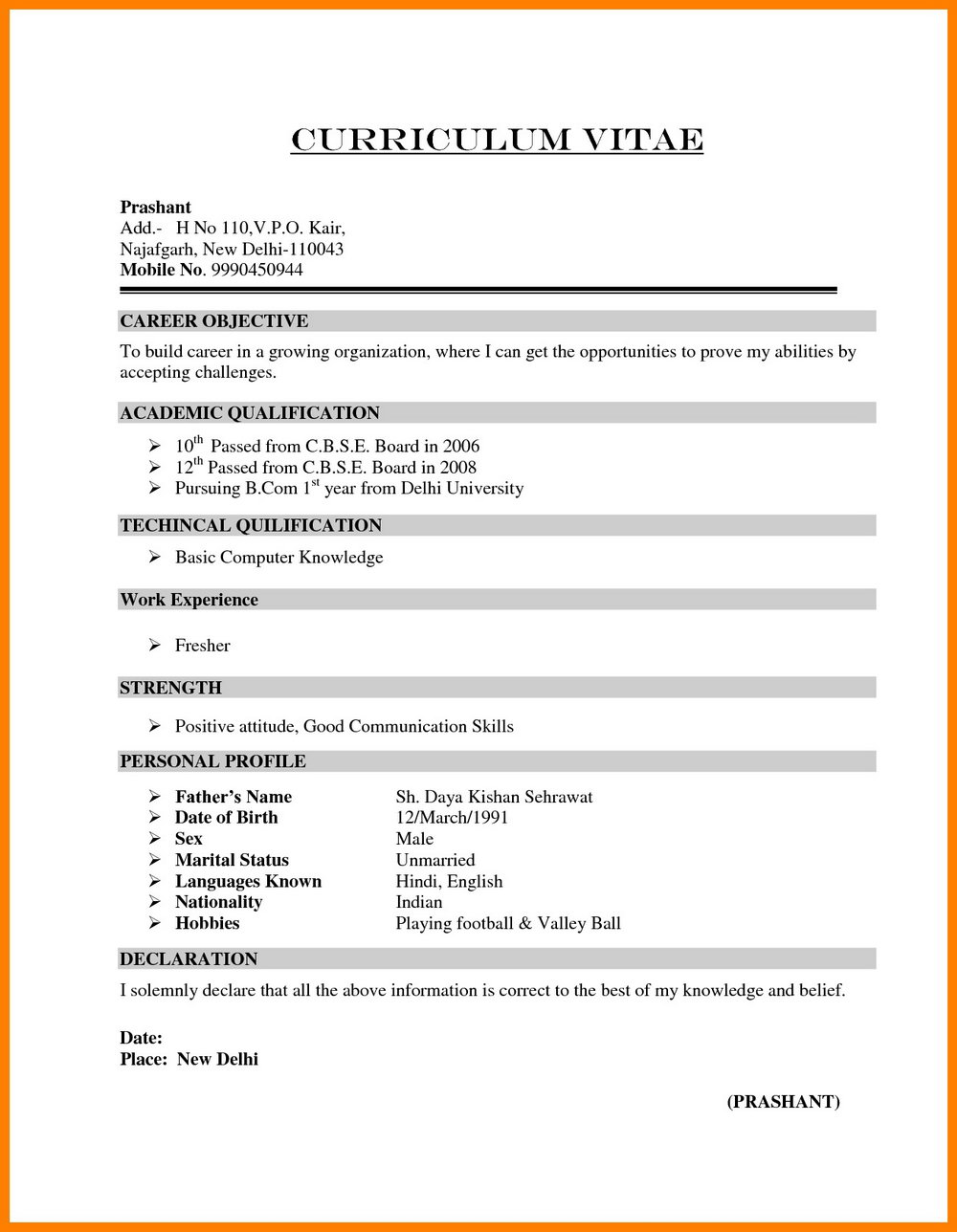 Resume Free Download For Freshers In Word Format