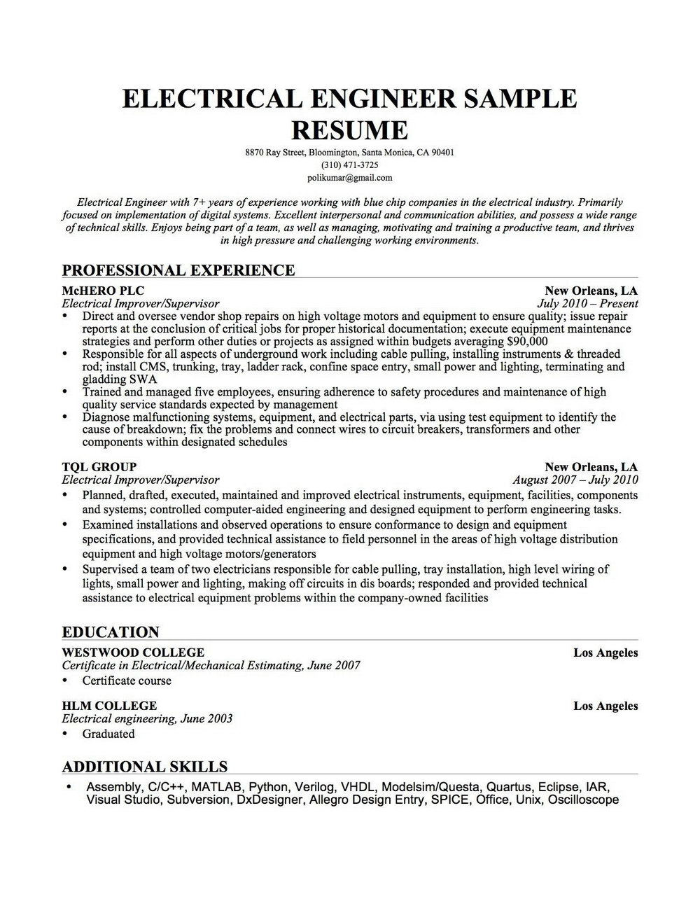 Resume Of Computer Hardware Technician