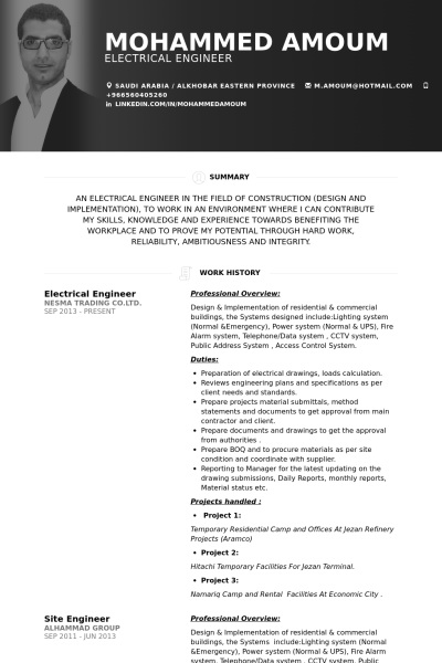 Resume Samples For Electrical