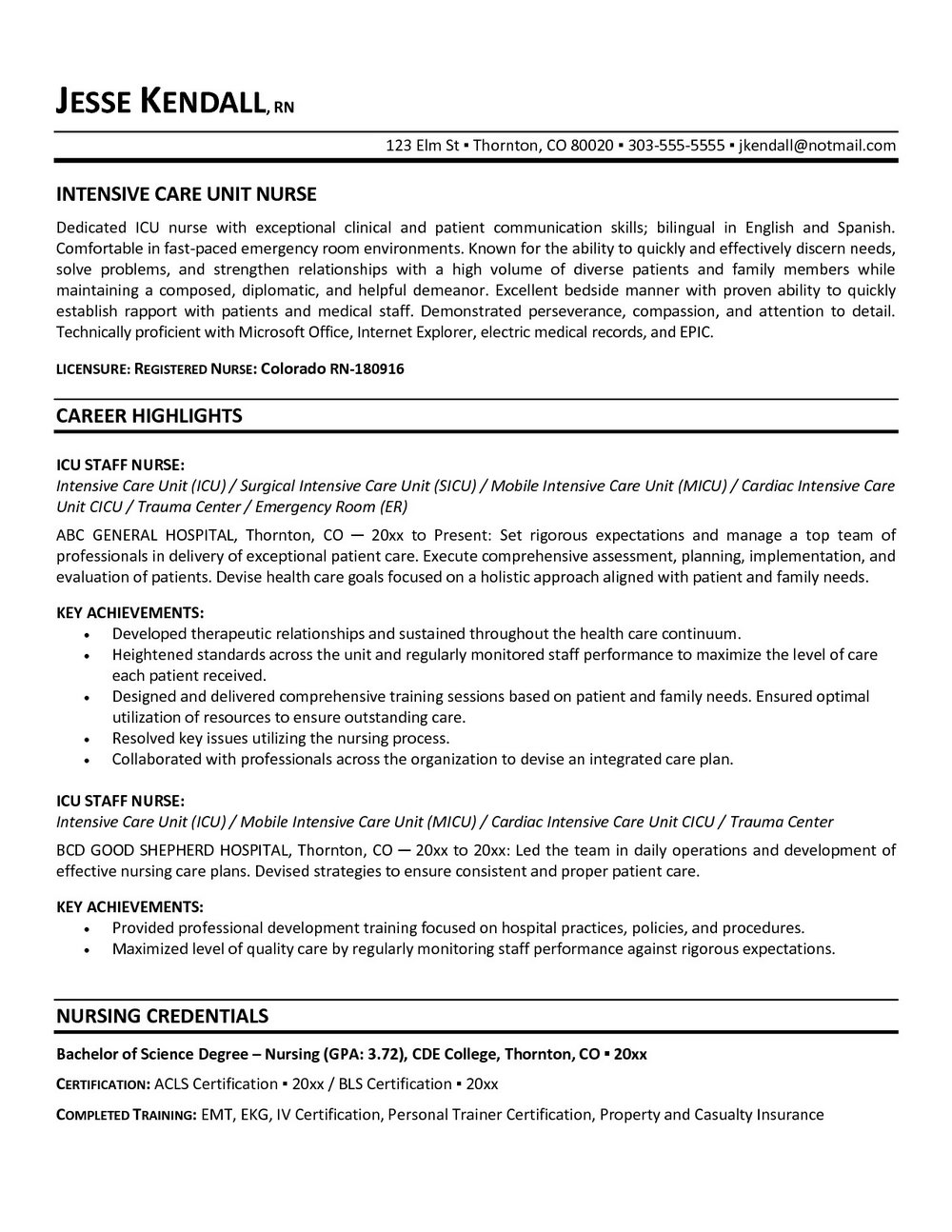 Resume Summary Examples For Nurses