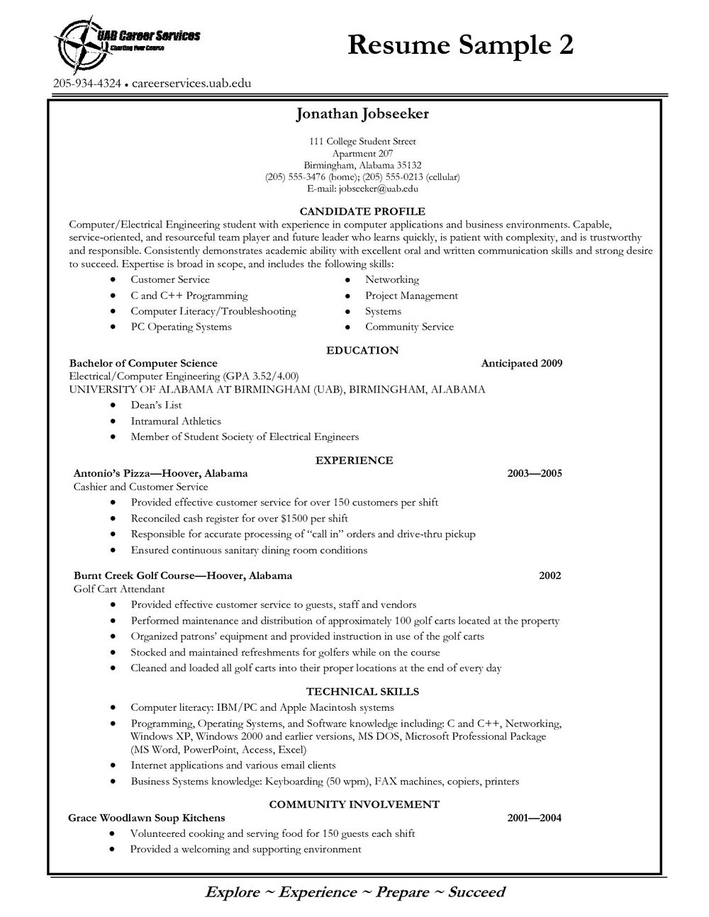 Resume Template For College Applications Free