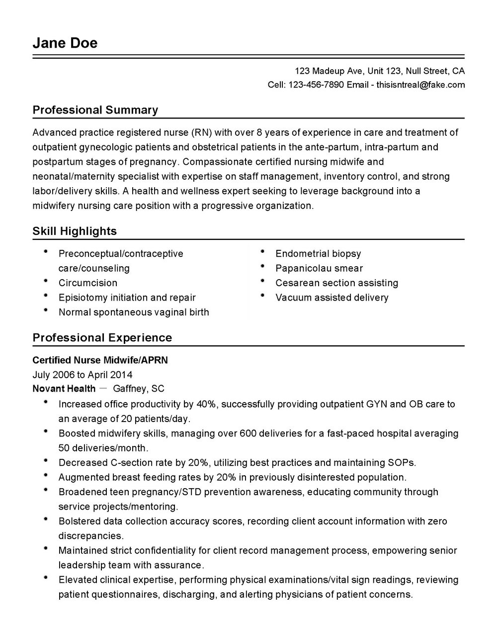 Resume Template For Nurses Aide
