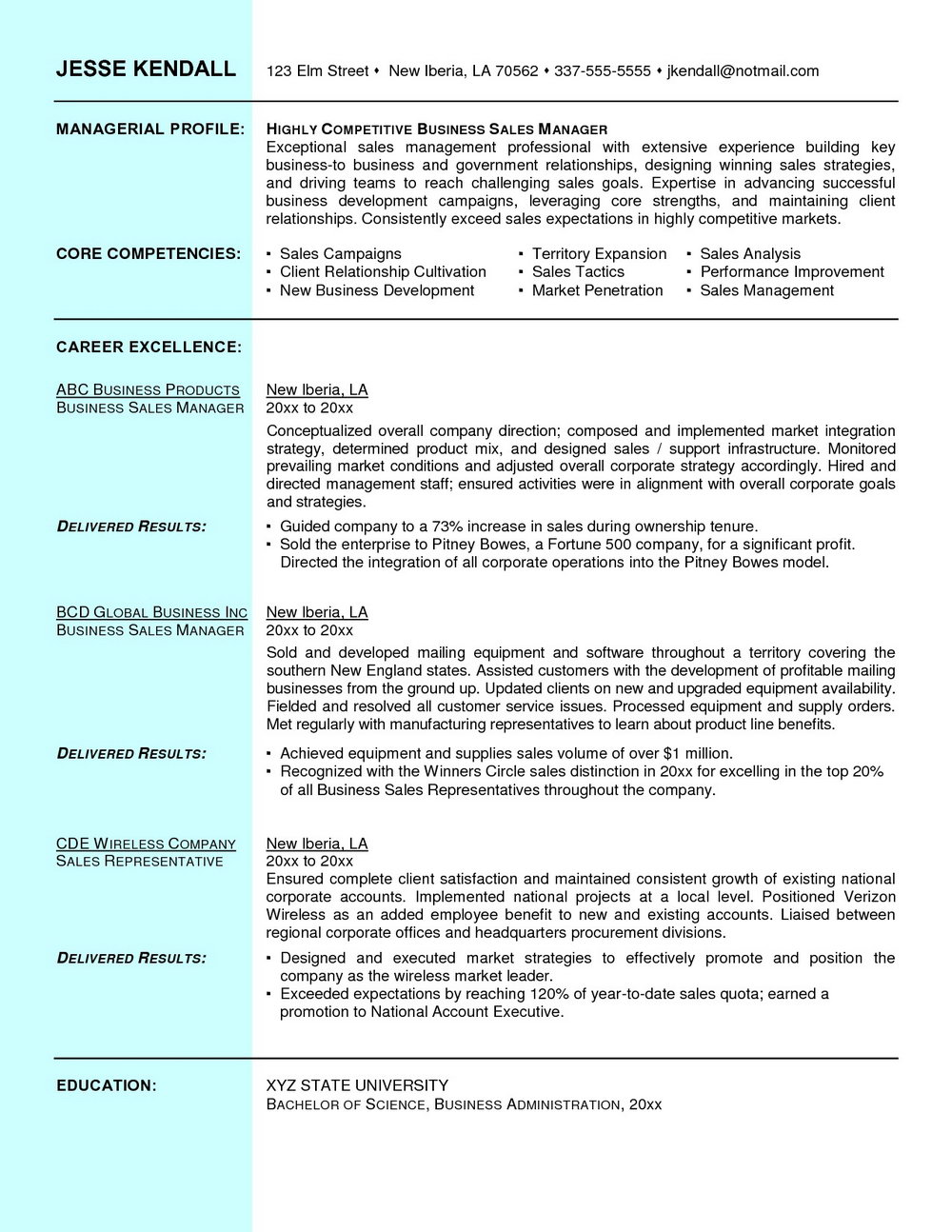 Resume Template For Sales Executives