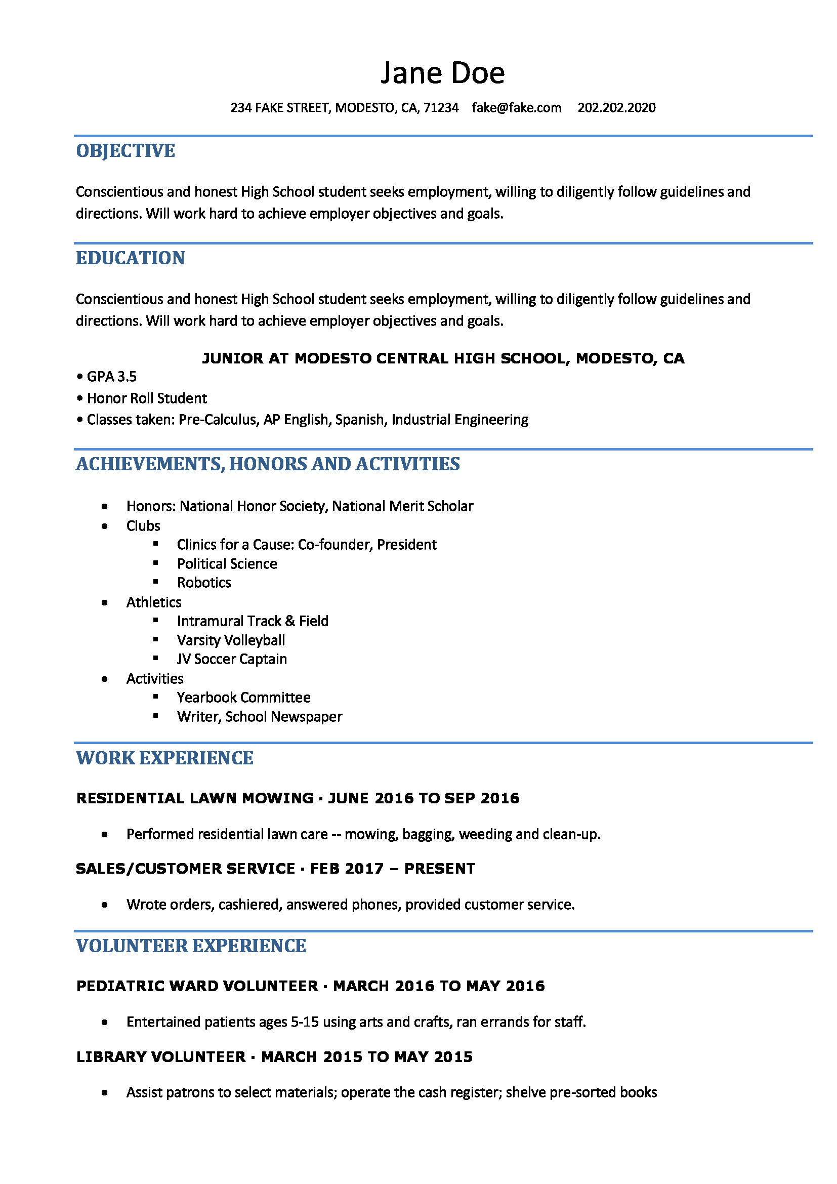 Resume Templates For High School Students Free