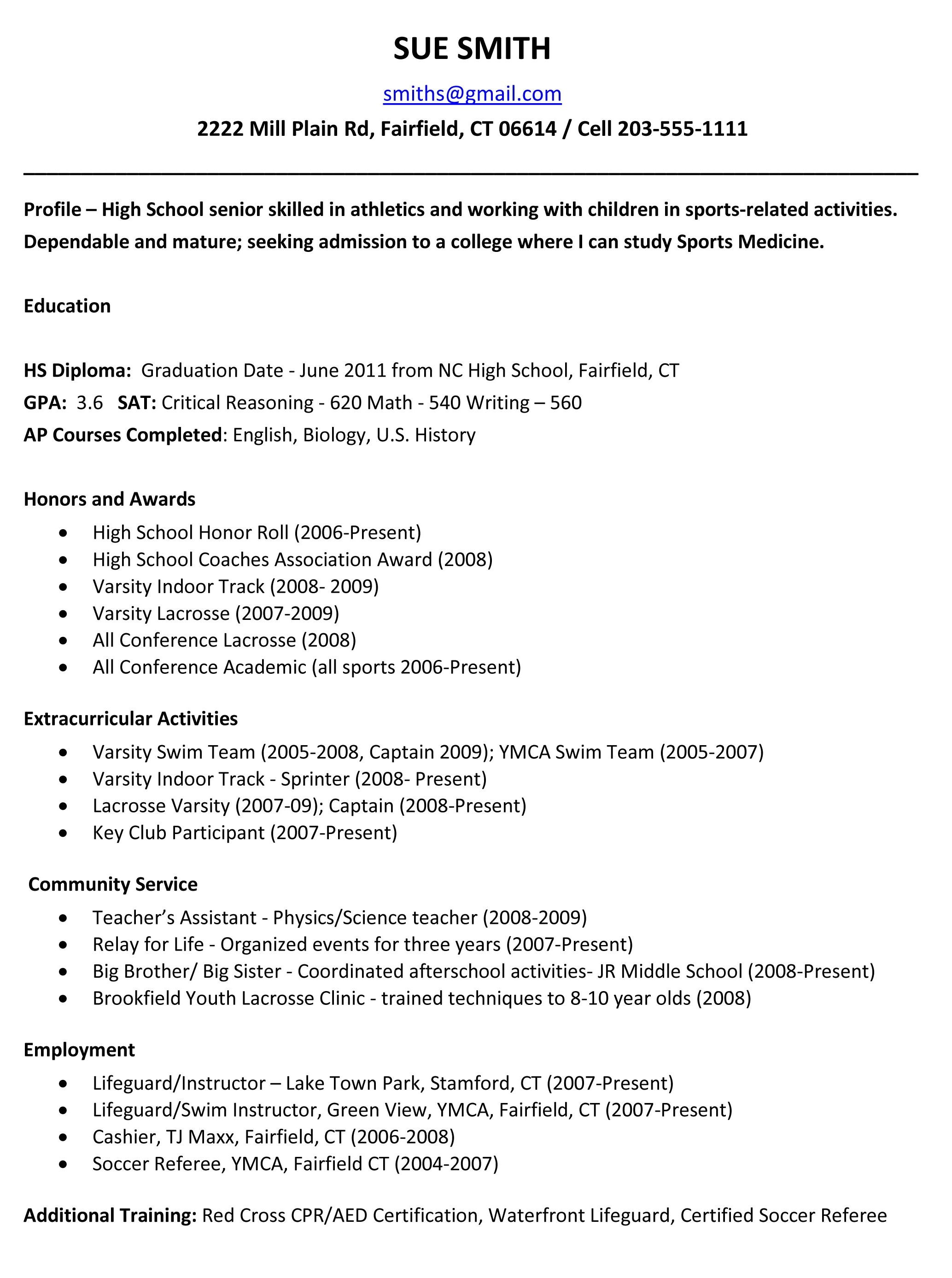 Resume Templates For Seniors In High School