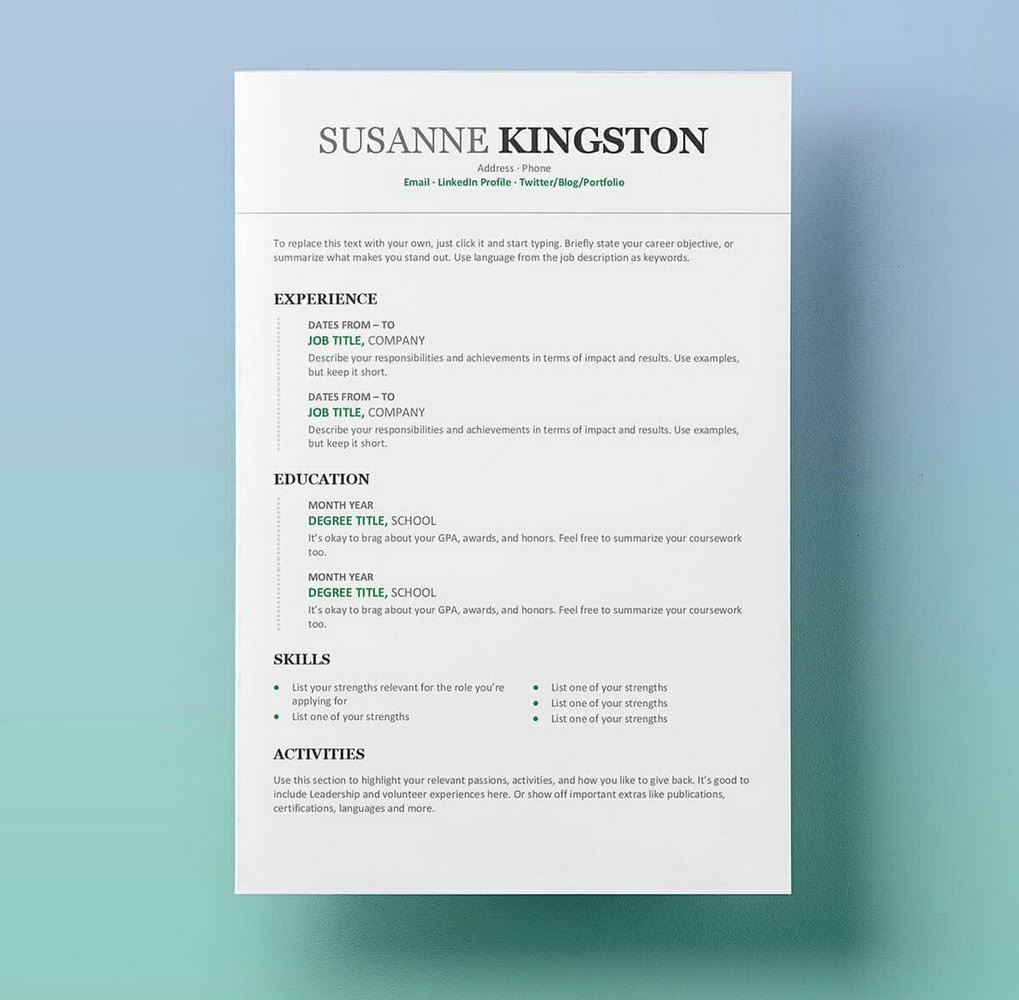 Resume Templates For Word Free Download