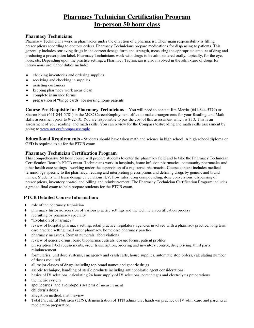Sample Certified Pharmacy Technician Resume