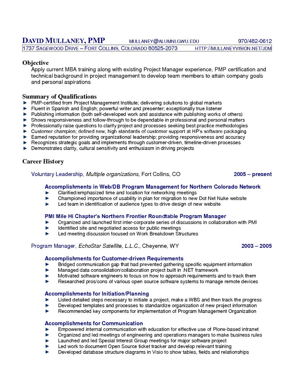Sample Cv For Project Management Officer