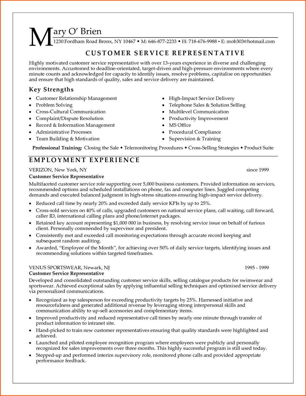 Sample Of Resume For Customer Service Officer