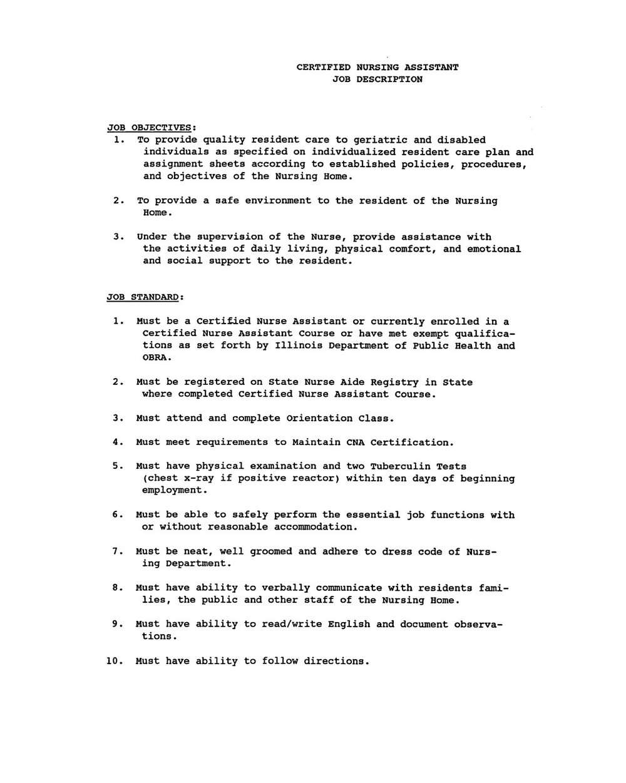 Sample Resume For Cna Position