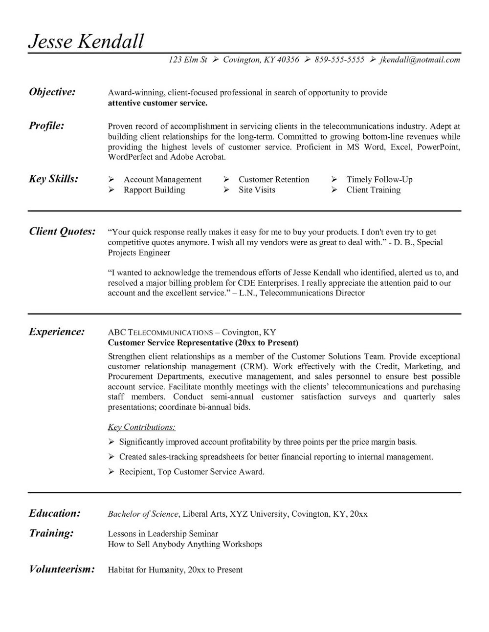 Sample Resume For Customer Service Representative Call Center