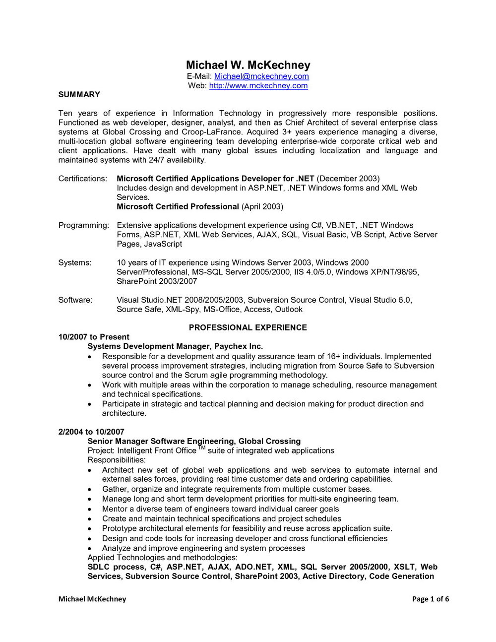 Sample Resume For Dot Net Developer Experience 5 Years