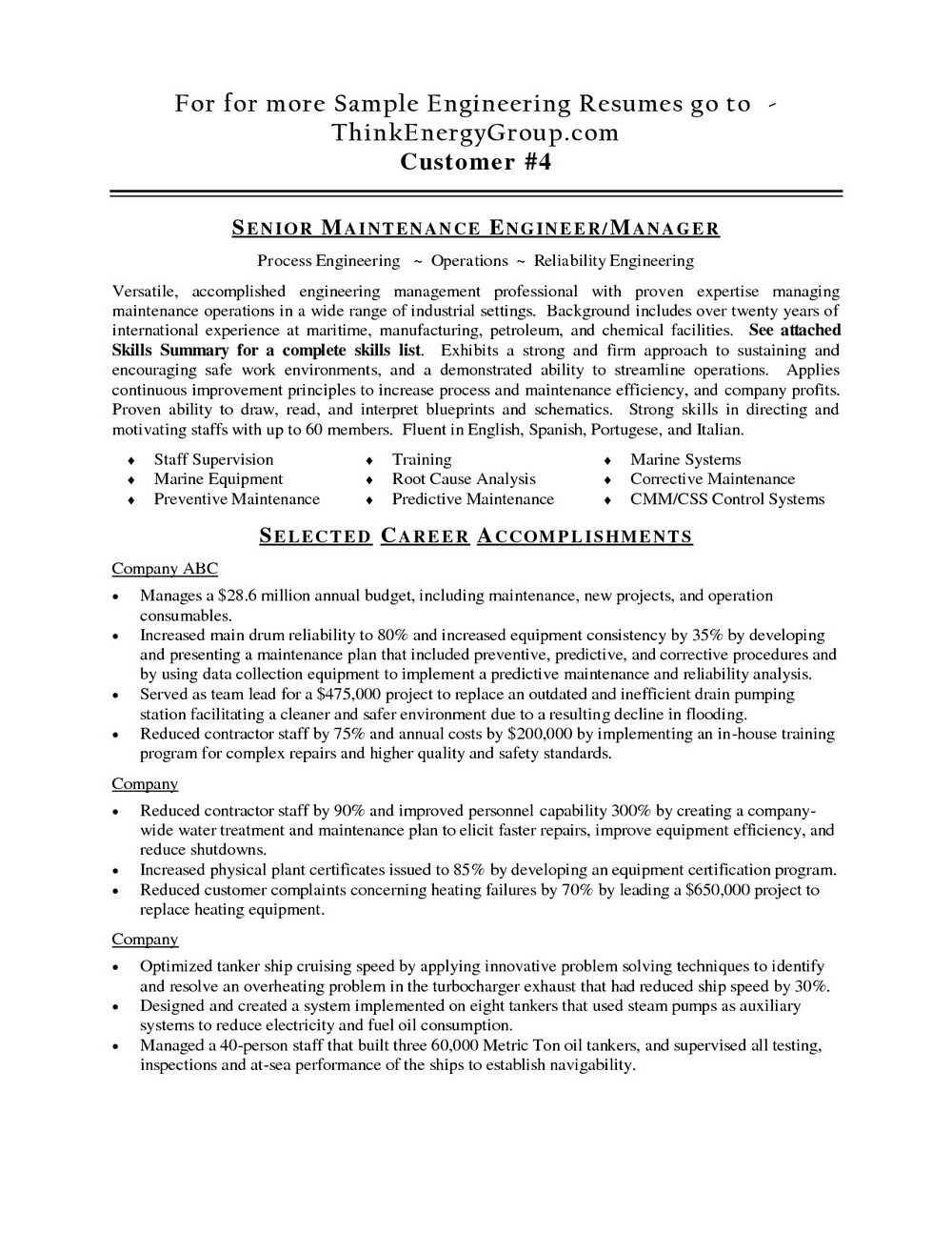 Sample Resume For Electrical Maintenance Technician Pdf