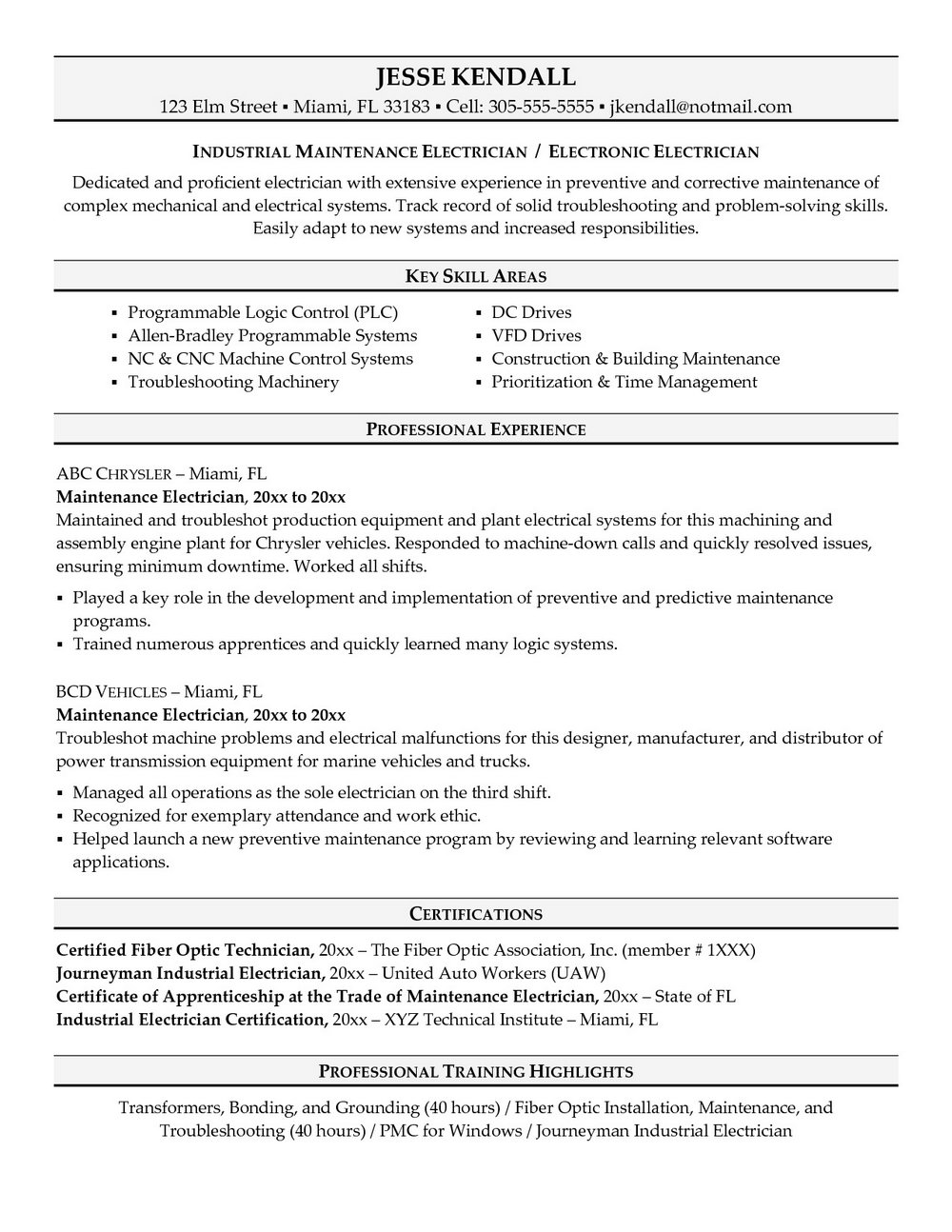 Sample Resume For Electrician Journeyman
