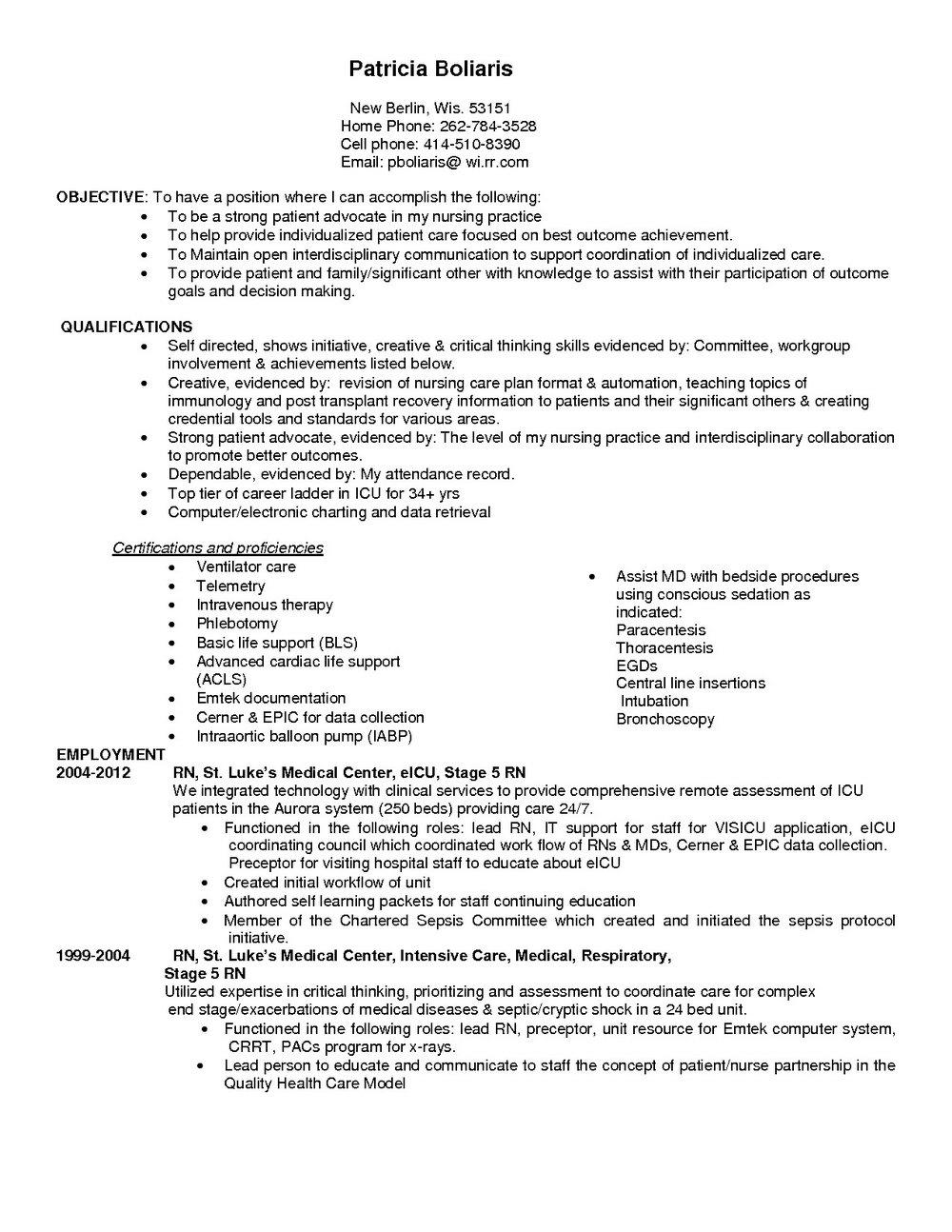 Sample Resume For Icu Rn