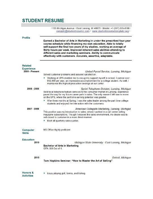 Sample Resume For Nursing School Application