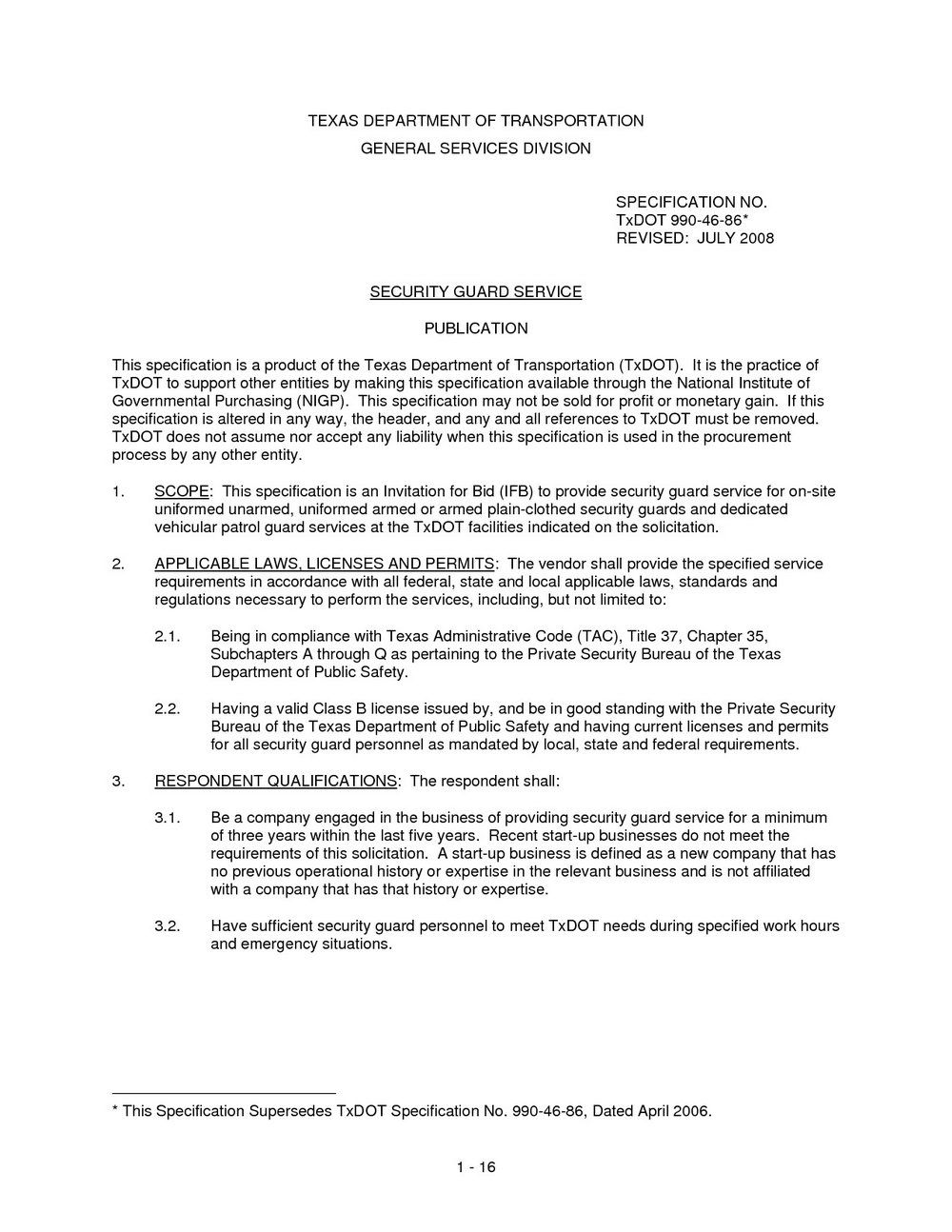 Sample Resume For Unarmed Security Guard