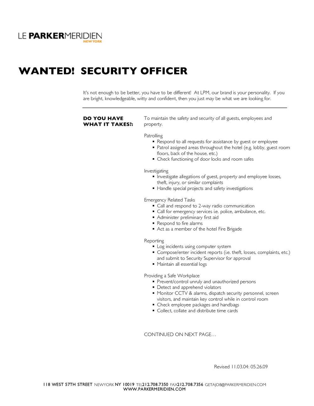 Sample Resume Hotel Security Guard