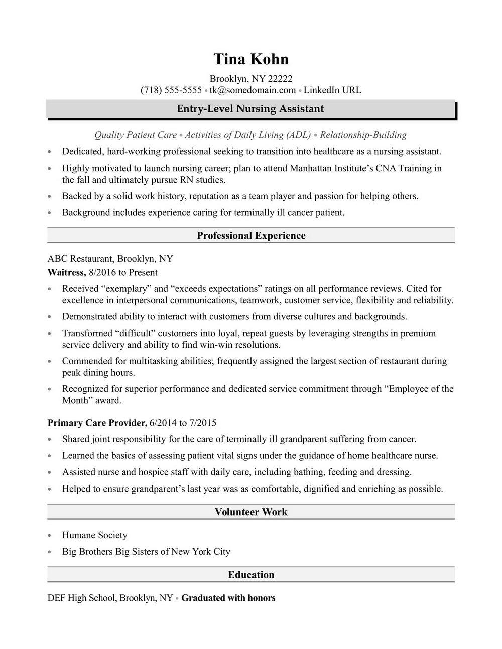 Sample Resume Summary For Nursing Assistant