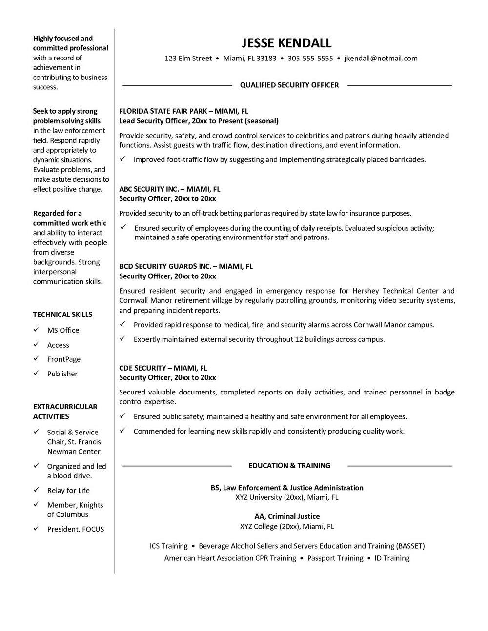 Sample Unarmed Security Guard Resume
