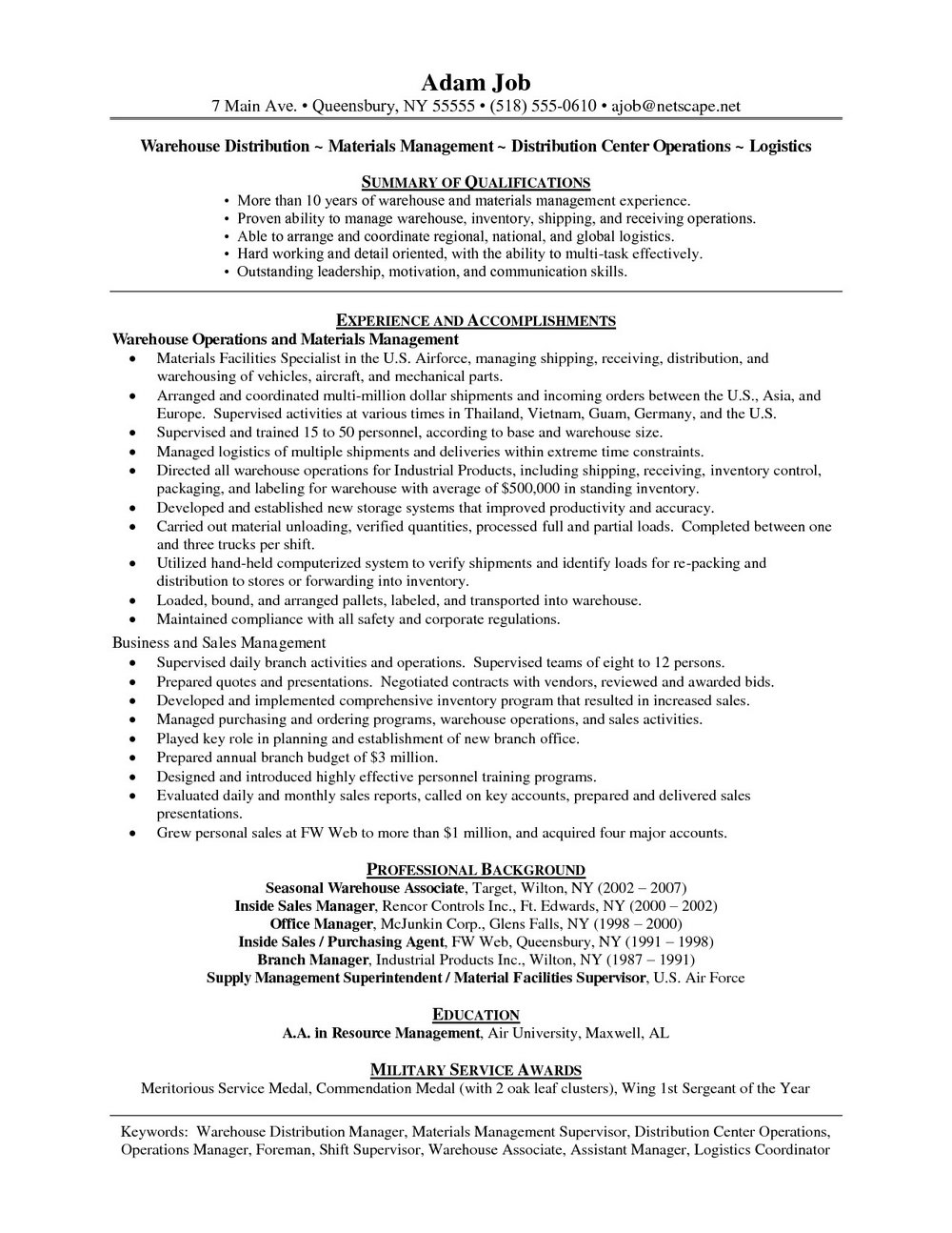 Sample Warehouse Resume Skills