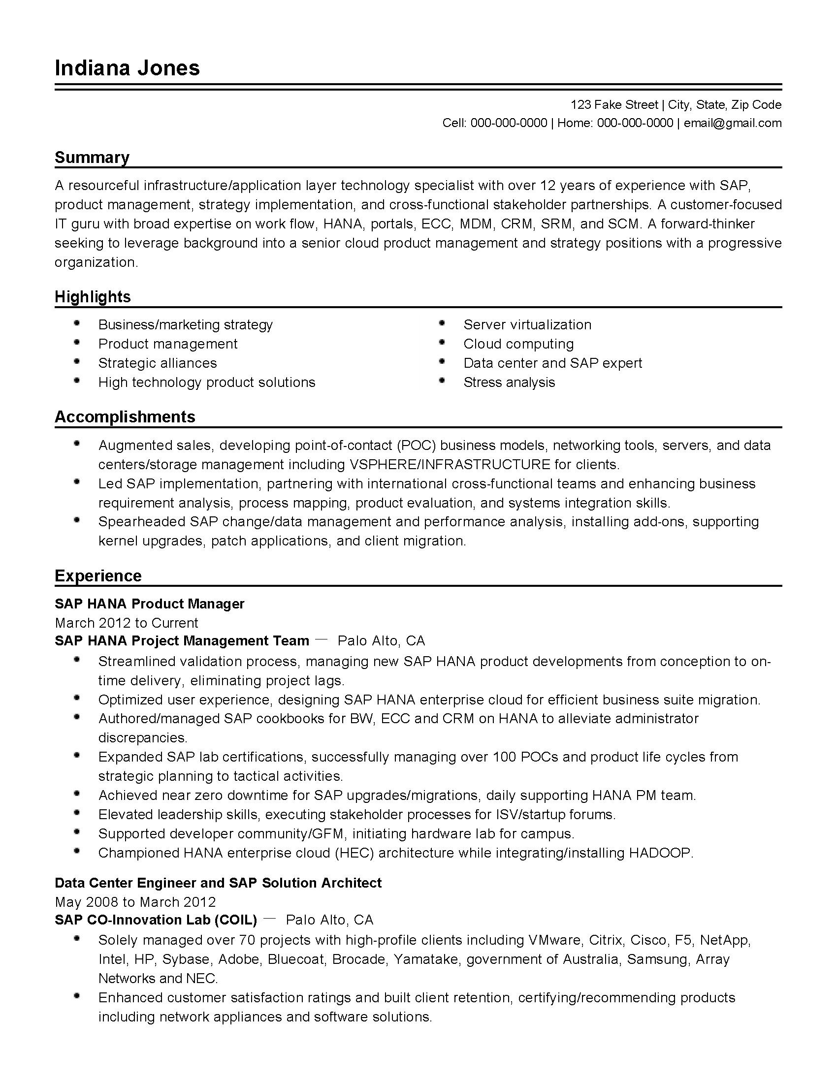 Sap Data Migration Lead Resume