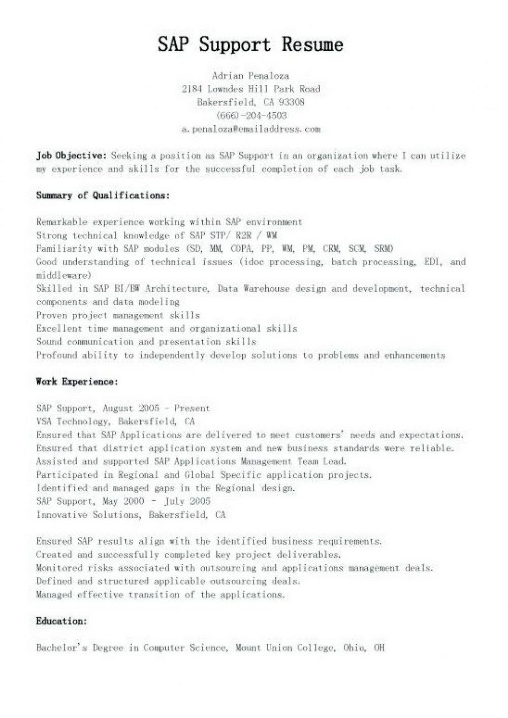 Sap Warehouse Management Sample Resume