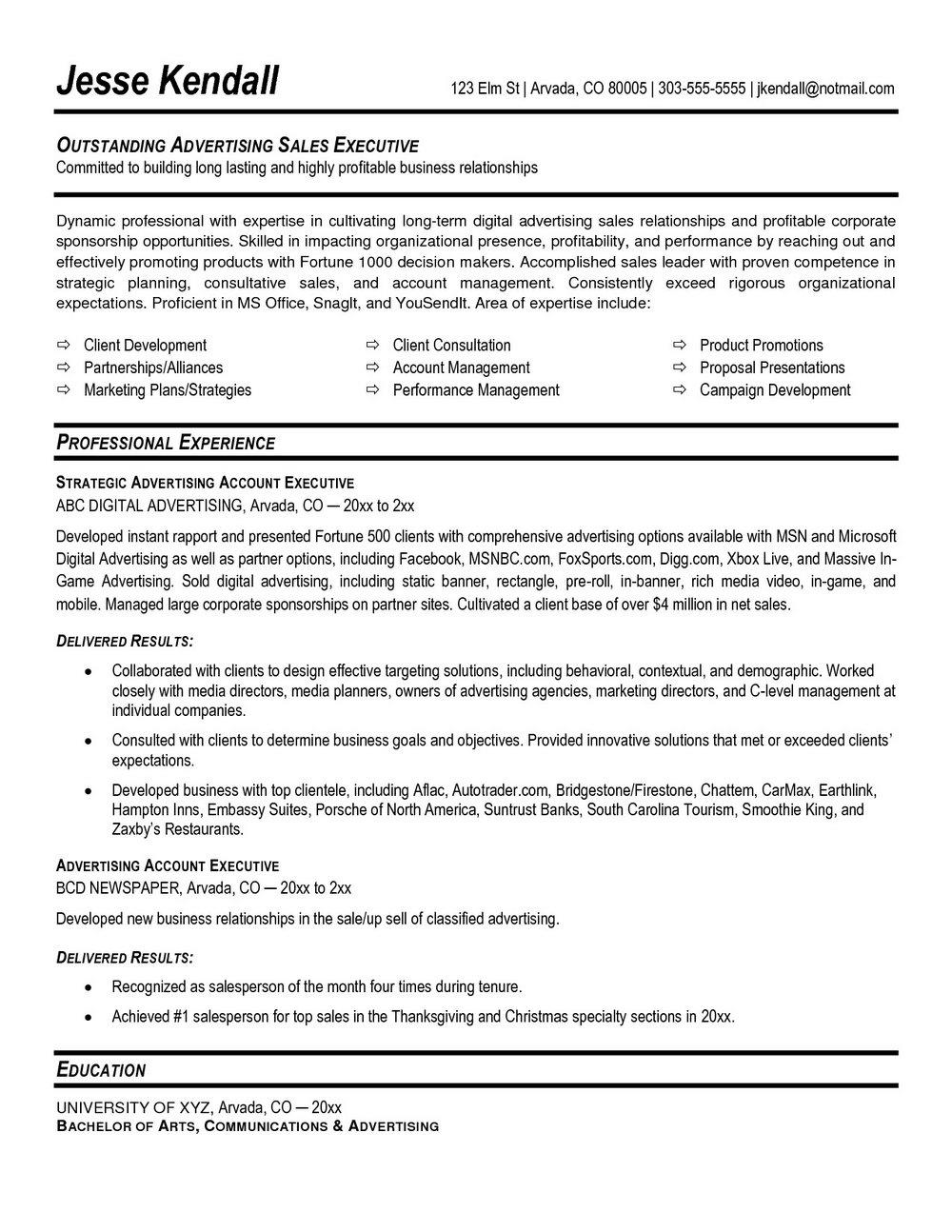 Senior Executive Resume Template Free
