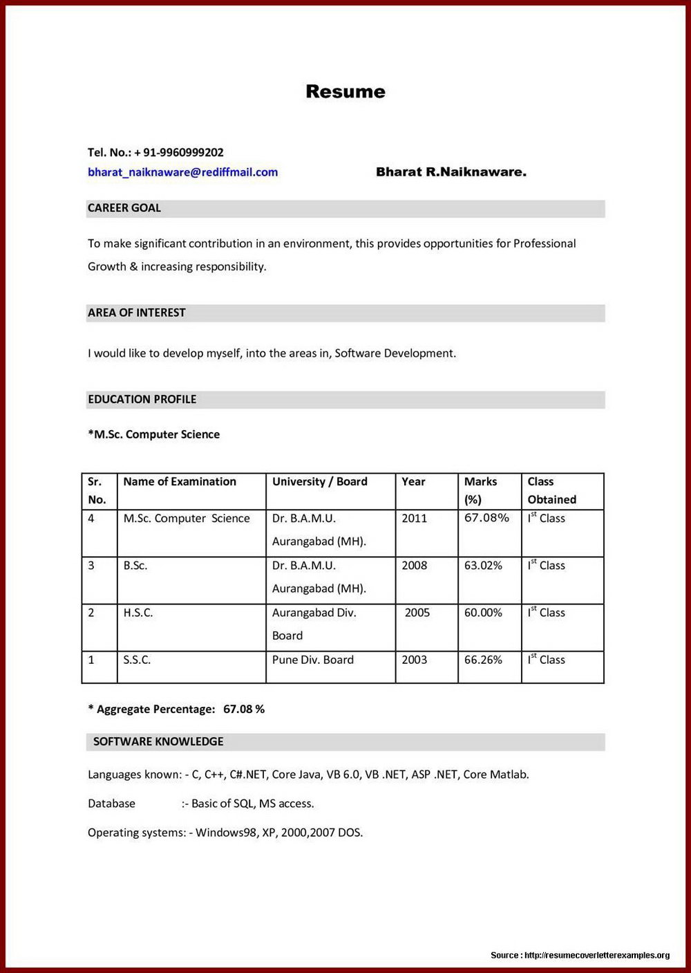 Simple Resume Format For Freshers Pdf Download