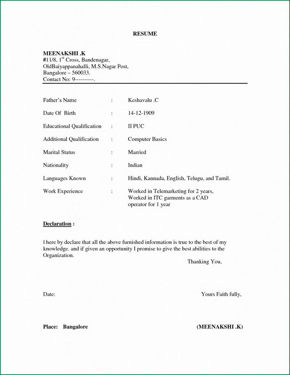 Simple Resume Format In Word Editable
