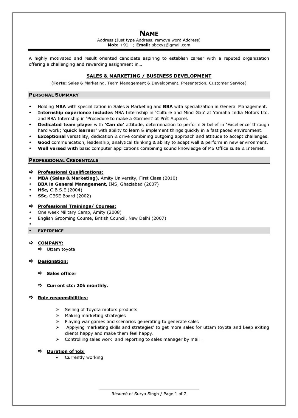 Simple Resume Format In Word For Experienced