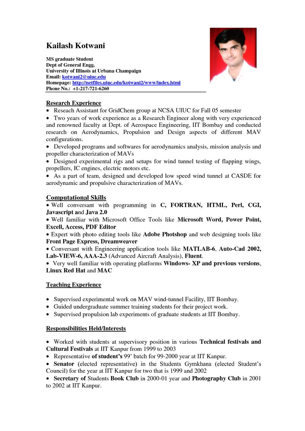 Simple Resume Format In Word With Photo